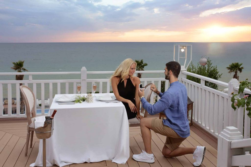 Wedding proposal at Poseidon balcony